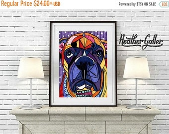50% Off Today- Boxer art Art Print Poster by Heather Galler - Angel of the Day Passed Pet Sir Weezy (HG209)