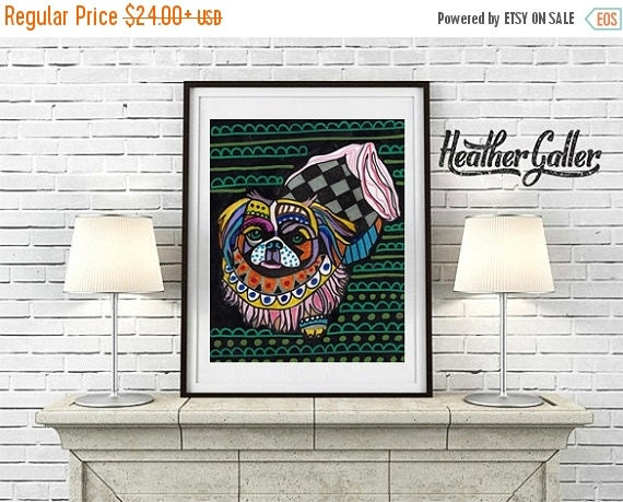 50% Off Today- Pekingese Art Print - Colorful Childrens Dog Paintings art dog Poster Print of painting by Heather Galler (HG751)
