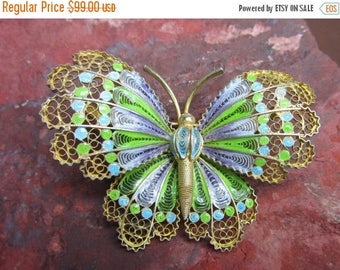 On Sale Butterfly 800 silver Gold Wash Brooch / pin  1960s