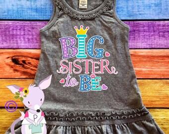 Big sister tank Dress girls big sister shirt pregnancy announcement dress big sister announcement dress tank ruffle dress  Big Sister Girls