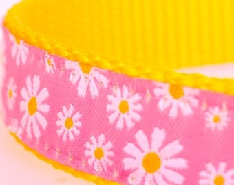 Pink Daisy Dog Collar, Girl Pet Collar, Adjustable Ribbon Dog Collar, Floral, Spring, Summer Dog Collar