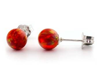 6mm Australian Flame Red Opal Ball Stud Post Earrings, Solid 925 Sterling Silver, Minimalist Earrings, Fire Opal Earrings, Red Opal Earrings