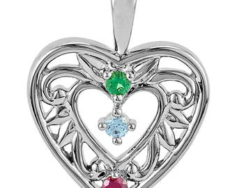 Family Birthstone Intricate Heart Design, 925 Silver Pendant, Custom-Made for Your Family, 1 to 5 Stones, Family Birthstone Pendant Necklace