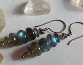 Flashy Natural Rainbow Labradorite drop earrings
