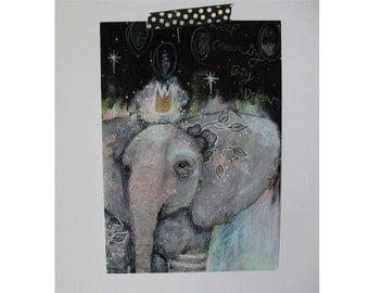 Elephant glossy oversized postcard poster print elephant painting art print A5 size - keep dreaming big dreams