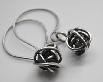 Sterling Silver Knots Oxidized Love Knots Handcrafted Earwires Handmade Silver Wire Balls U.K. Everyday Earrings Rustic Oxidised Drop Earrin
