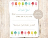 PRINTABLE ice cream thank you cards . girls ice cream cone, popsicles birthday . fill in the blank thank you . sweet shop . INSTANT DOWNLOAD