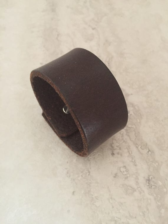 Handmade Brown Leather Bracelet, Women's Leather Cuff (size 6.25 inches)