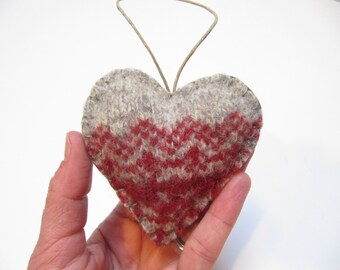 Wool Heart Ornament, Valentines Heart Up-cycled Ornament, Valentines Ornament, Heart Wedding Favor, Valentine Gift, READY TO SHIP