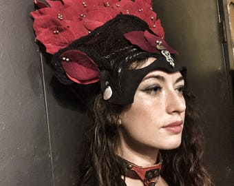 Red Rose Mask and Headdress / Queen of Hearts Headpiece / Rose Headpiece