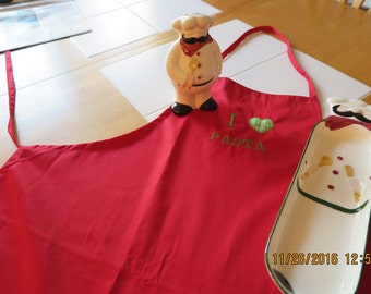 Red apron- I Love Pasta- Embroidered and appliqued-Perfect gift for the Italian Cook