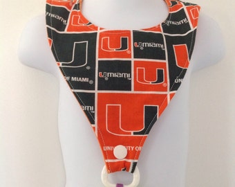 University of Miami Inspired Baby Bib with Pacifier Holder