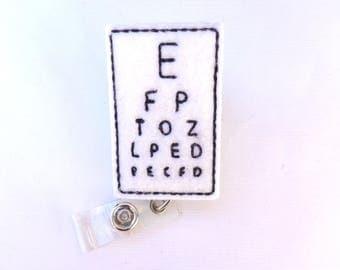 Optometrist badge reel badge holder retractable - Eye Chart - white felt badge reel - opthalmalogist eye optician Doctor medical badge reel