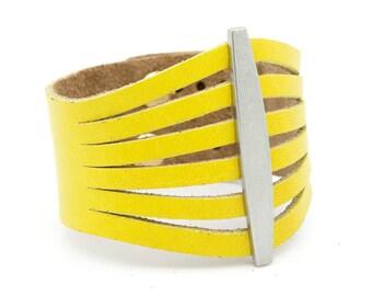 Yellow Leather Cuff - Ladies' Yellow Bracelet - Flare