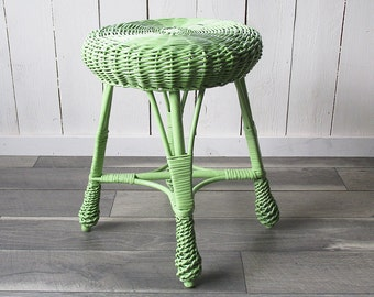 Mid Century Mint Green Rattan Vanity Stool - Chair - Occasional Table - Plant Stand