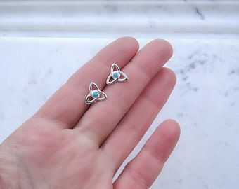 Celtic knot stud earrings, reconstructed turquoise and sterling silver