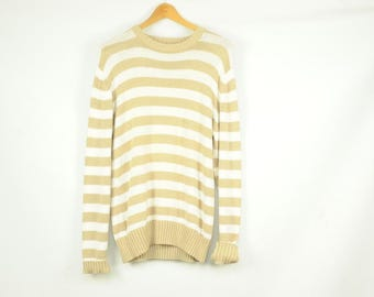 80s striped beige and white cotton crew neck sweater size medium by Lord and Taylor