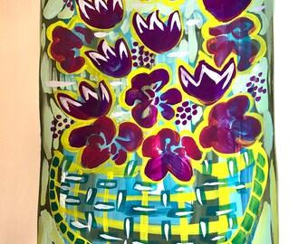 Fuschia flowers abstract original art painting