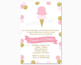 Ice Cream Birthday Party Invitation, Polka Dot Ice Cream Birthday Party Invitation, Pink, Gold Glitter, Printable or Printed