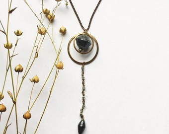 Long necklace. Circle pendant. Black Necklace. Modern Jewelry. Paper bead Necklace . Fair trade. Ethical Jewelry. Sela Designs