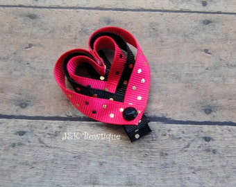 Heart shaped hair clip....Valentine's Day...hair bow