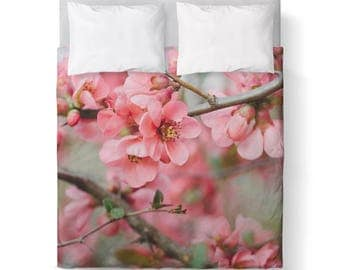 Spring Floral Pink Green Duvet Cover/ Bedding/ Comforter Cover/ Twin, Queen, King/ Made To Order/ flowers pink green blossoms