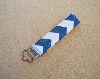 Dark Navy Blue and White Chevron Fabric Key Fob Wristlet