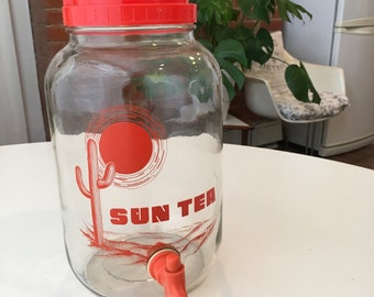 Retro 'Sun Tea' Glass Drink Cannister with Cactus and Sun