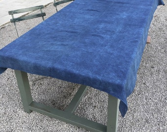 Antique French Tablecloth  .Indigo Blue Linen Throw, Upholstery Fabric