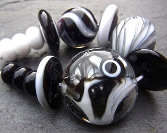 Black and White - Handmade Lampwork Bead Set (13) by Anne Schelling, SRA