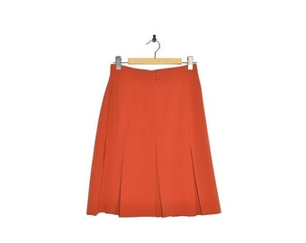 ON SALE Vintage ARLICE Paris Orange Pleated Skirt Size 8 10 France 40 Fluid Polyester Spring Rust