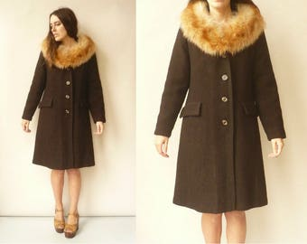 1950's Vintage Wool Princess Swing Coat With Fox Fur Collar Size Medium