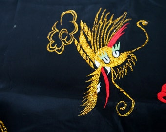 CLEARANCE Metallic Embroiderd Chinese Dragons Applique Patch Scrap on Black