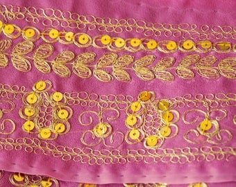 Sari Saree Vintage Decorated with Sequins Metallic Embroidery Hot Pink almost 6 Yd Fabric