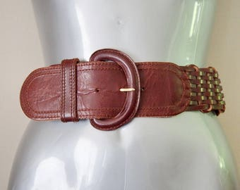 Liz Claiborne Wide Leather Belt Brown Medium