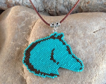 Turquoise and Chocolate Horse Peyote Beaded Choker