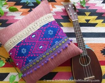 Boho Throw Pillow Pillow Purple Gypsy Bohemian - Ethnic Decorative Cushion Cover