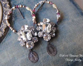 Sacred Medals And Stones--Vintage Art Deco Rhinestone Cluster Antique French Holy Medals Pearl Pink Tourmaline Cut Steel Hoop EARRINGS