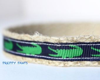 """Preppy Dog Collar, Tiny Alligator Dog Collar, 5/8"""" wide Dog Collar, Adjustable Collar, Pet Collar, Gator Collar"""