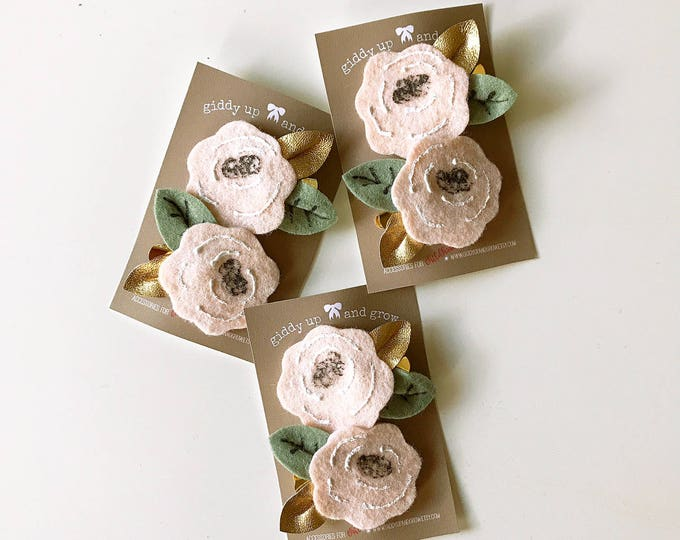 Featured listing image: Felt Hair Clip Set, Felt Bows, Hair Flowers in Pale Peach, Alice in Wonderland, giddyupandgrow