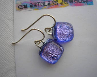 Petite Earrings Dichroic Glass Icy Blue Violet Fused Glass Jewelry .925 Sterling Silver Dangle Color Shifting Purple Earrings Blue Jewelry