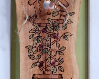 Bird House Wall Plaque, Cypress Wood Burned, Knob Hanger, Grapes & Leaves Spring Decor