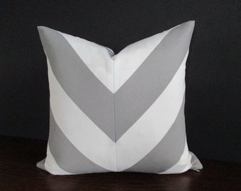 Pillow Cover Mitered Chevron Grey & White Stripes Indoor Outdoor