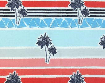 Red Blue Grey and Navy Sunset Palms  4 Way Stretch JERSEY Knit Fabric, Modern Maritime By Corinne Wells for Club Fabrics, 1 Yard