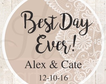 Wedding Favor Stickers, Bridal Shower Favor Labels, Personalized Stickers, Bachelorette Party Favors, Best Day Ever - Tan - Set of 24