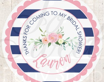 Bridal Shower Favors, Sticker Labels, Wedding Sticker Favors, Bachelorette Favors, Thank You Stickers - NAVY, LIGHT PINK - Set of 24