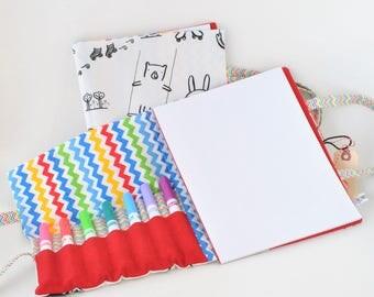 Color Your Own Large Art Caddie-Art On the Go-Travel Art Book-Travel Activity-Art Portfolio-Child Art Case-Marker Holder-Sketch Pad