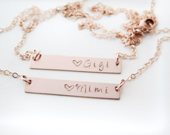 Mimi or Gigi Necklace - Gold Fill or Rose Gold Fill Bar Necklace - Hand Stamped Jewelry - Grandma or Granny - Betsy Farmer Designs