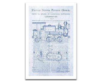 Locomotive Patent Art Giclee on archival matte paper