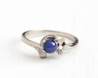 Sale - Vintage 10k White Gold Created Star Sapphire & Diamond Ring - Size 7 Retro Blue Asterism Cabochon September Birthstone Fine Jewelry